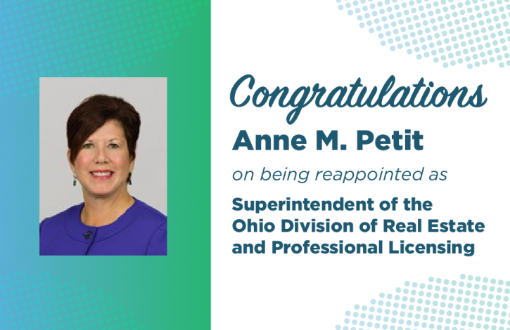 Petit reappointed as Superintendent of the Ohio Division of Real Estate and Professional Licensing