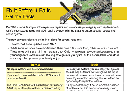 Fact sheet & information regarding Ohio's new septic rules available for download