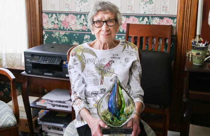 Mary Pollock presented with top award named in her honor